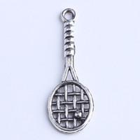 Wholesale Tennis Racket Charm Necklace - DIY silver copper retro Tennis racket Dangle Charms Pendant Manufacture jewelry pendant fit Necklace or Bracelets charm 800pcs lot 1020x