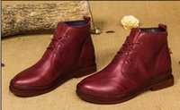 Wholesale Red Ankle Booties - wholesale drop shipping flats genuine leather women lace up martin boots vintage quality fashion ankle booties size35-40