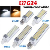Wholesale G24 Pl - E27 G24 5W 7W 9W 11W 13W 15W 110V 220V Horizontal Plug lamp SMD2835 Bombillas LED PL Corn Bulb Spot light Lighting