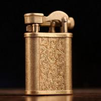 metal vintage isqueiro venda por atacado-querosene Vintage Cigarette Lighter Latão Tabela Handmade Retro metal leve