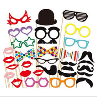 Wholesale Moustache Lips - Funny Photo Booth Props with lips moustaches glasses Cute fashion for wedding Christmas Party Decorations free shipping