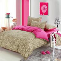 Wholesale Leopard Comforter Twin - 100% Cotton Romantic Leopard Bedding Set 4Pcs Home Duvet Cover Pillow Cover Brief Style Bed Set Twin Queen