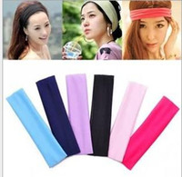 Wholesale stretch headbands - Fashion Bandanas For Women Colors Stretch Headband Sports Yoga Hair Band Sweat Head Wrap Unisex High Elastic Bandanas