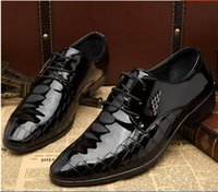 Wholesale Hot New Lace Up Shoes - HOT New Men's PU Leather Dress shoes Fashion Men Casual shoes Wedding Party Business Shoes Lace-Up pointed toe shoes Black 2 styles