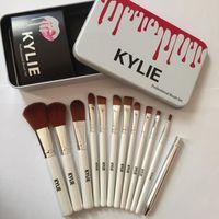 Wholesale Pro Tools Set - Hot Kylie 12pcs Pro Makeup Brushes Set Synthetic Hair Powder Foundation Eyeshadow Lip Eyeliner Angled Contour Brush Tool T251 Free Shipping