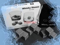 conjuntos de regalo de vino envío gratis al por mayor-100 sets / lote Envío Gratis 9 unids / set Whisky Stone Whisky Rock Wine Ice Stone Whisky Stone Regalo de Navidad Día de Padre