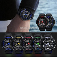 Wholesale Multi Alarm Wrist Watch - Wholesale-Hot Sales Multi-Function S-Shock Sports stainless steel Watch Led Analog Digital Waterproof Alarm wrist watch B18 SV000894