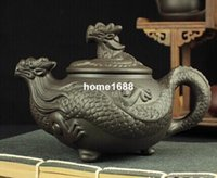 yixing kapları toptan satış-Çin Ejderha Kung Fu Çay Seti, Yixing Mor Kil Demlik yüksek dereceli çay potu, el sanatları 450 ml Büyük Boy demlik