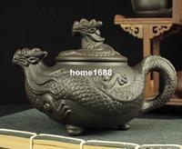 yixing juegos de tetera de arcilla al por mayor-Juego de té chino Dragon Kung Fu, tetera de arcilla púrpura Yixing, tetera de alta calidad, tetera artesanal de 450 ml de gran tamaño
