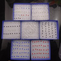 Wholesale 50LOT HHA667 Hot Sell Earings Studs Mixed Plastic Colorful Rhinstone piercing Earring Rings Ear Nail