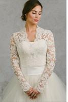 Wholesale Custom Made Crochet - Long Sleeve Wedding Wrap Jacket White& Ivory Lace Bridal Wrap Custom Made Wedding Bolero Wedding Accessories Bridal Jackets