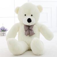 ingrosso big white teddy bear doll-47''Giant Big Huge White Teddy Bear Peluche ripiene Morbidi giocattoli bambola regalo per bambini 120 cm