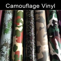 Wholesale Camo Vinyl Wholesale - 1.52x30m(5x98ft) Good stretach Army CAMO Camouflage Vinyl Film Sticker Wrap Decal air release 4 patterns