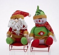 Wholesale Christmas Presents Ornaments - (2 pcs lot) Christmas Cartoon Santa Claus Snowman Present Accessories Ornaments Supplies Seat Furnishings Enfeites De Natal