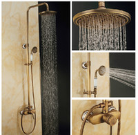 Wholesale Antique Brass Single Handle Faucet - Exquisite Carved Antique Brass Shower Faucet Set Rain Shower Mixer Single Handle