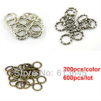 Wholesale Necklace Scarf Accessories - Wholesale-600PCS LOT, DIY Necklace Scarf Pendants And Accessories 3 Colors Mixed Charm CCB Round Circle Rings, Free Shipping, AC0059MIX