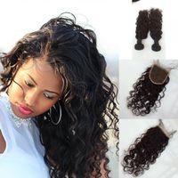 Wholesale Wholesale Virgin Burmese Hair - 4x4 Lace Closure With Bundles Burmese Virgin Human Hair Weaves With Closure water Wave Lace closure With 3weft G-EASY