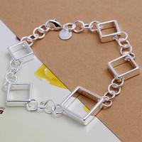 Wholesale Grids Brand New - Hot sale best gift 925 silver Full Quartet grid bracelets DFMCH204,Brand new fashion 925 sterling silver Chain link bracelets high grade