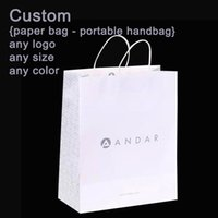Wholesale Custom Wrapping Paper Wholesale - Custom clothing white kraft paper fashion simple paper bag portable stickers handbag gift wrapping paper free shipping