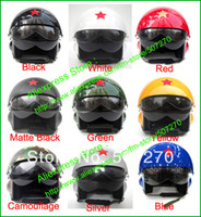 Wholesale Chinese Air Force Helmet - Wholesale-8 Colors ! Vintage Chinese Air Force Jet Pilot Street Open Face Motorcycle Helmet & Visor SIZE M , L , XL , XXL