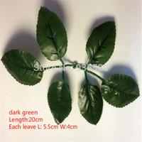 yapay yaprakları yeşil yaprak gül toptan satış-Toptan-Ücretsiz nakliye toptan yapay Gül 6 yeşil yapraklar yaprak mozaik yapraklar DIY ev dekorasyon naylon çiçek yaprakları (200 adet / grup)