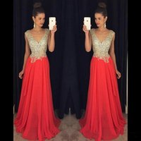 Wholesale Full Sparkle Prom Dresses - 2016 V Neck Sparkling Prom Dresses Beads on Top Sexy Back A Line Chiffon Celebrity Gowns Full Length Formal Evening Party Dresses BA0827