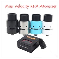 Wholesale Velocity Mini Rda Rebuildable Dripping Atomizer - 2015 Mini Velocity RDA Rebuildable Dripper Atomizer Clone with Wide Bore Drip Tips 6 Air Holes Adjustable Airflow Fit 510 Mods