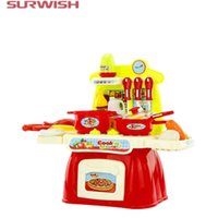 Wholesale- Surwish Children Cooking Jogar Mini Kitchen Table Toys Set Pretend Play Baby Kids Home Educational Toy - Vermelho