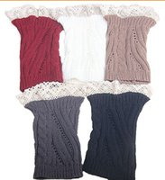 Wholesale Lace Top Boot Socks Wholesale - 2015 Lace Open twist Knit Boot Cuff knit boot topper faux legwarmers sock tops knit leg warmers boot warmers 5 colors 24 pairs lot #3713