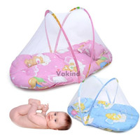 Wholesale mattress cribs - V1NF Portable Baby Bed Crib Folding Mosquito Net Infant Cushion Mattress Pillow