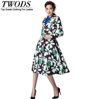 Wholesale-Twods 2015 Herbst-Blumen Trenchcoat Frauen Plus Size XXL XXXL Collared Einreiher Buttom Midi Ladies Overcoat Manteau Femme