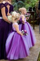 Wholesale Christmas Ball Opens - Queenwedding Ball Gown Purple Flower Girl Dresses Gowns Tulle Akle-length Flower Girl Dress Sashes Open Back Custom Made SX253