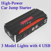New High Power 4 USB Car Jump Starter Auto AMPS Emergência Iniciar Power Carregador de carro laptop / notebook / tablet / celular carregador de banco de energia
