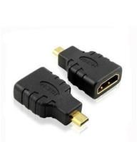 camaras hdmi al por mayor-Envío gratis chapado en oro HDMI tipo A hembra a micro HDMI TypeD adaptador macho para cámara HDTV