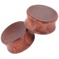 Wholesale Ear Tunnel Piercing Wood - Body Jewelry Tiger Wood Concave Ear Plug mix 6-22mm 36pcs Cheap sales Piercing Tunnel And Plugs Gauges