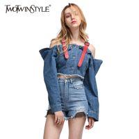 Wholesale Korean Jeans Jacket - Wholesale- TWOTWINSTYLE Sexy Off Shoulder Jeans Jacket Slash Neck Crop Tops Denim Women's Suspender Coats Ripper Big Sizes Korean Clothes