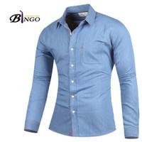 Wholesale Bingo Shirts - Wholesale-Bingo 2016 M-XXL European & American Men's Features decorative ribbon washed denim shirt men cultivating long-sleeved cardigan