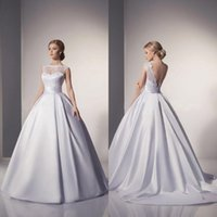 Wholesale Elegant Bridal Wedding Dress Satin - 2016 Cheap Elegant In Stock Lace Wedding Dresses White Ball Gown Floor Length Bridal Gowns Vestidos De Noiva