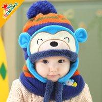 Wholesale Ear Protector Hats Scarfs - Wholesale-Winter baby hat baby hat monkey plus velvet pocket ear protector cap muffler scarf twinset
