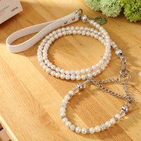 Wholesale Pearl Dog Collar - [Moccapet ]New Silver Pearl Pet Collar Leash Set Dog Collar Dog Leash Pet Supplies Dog Collars For Small Dogs