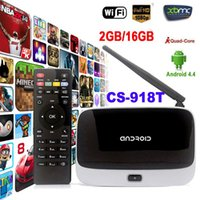 Wholesale Android Tv Cs - 2016 WiFi TV Set Top Box XBMC DLNA OTG 1080P Bluetooth 4.0 Quad Core ARM Cortex A7 Rockchip RK3128t CS-918T 2G 16G Android 4.4 TV Box