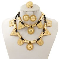 Wholesale real 24k gold earrings - 2018 Fashion New jewelry sets 24k real Gold Plated Dubai Women Dance party unque design Necklace Jewelry Set