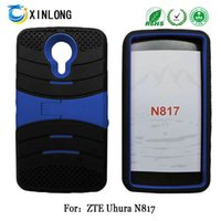 Wholesale Pc Tablet Zte - For ZTE Uhura N817 silicon+pc 2 in 1 Kickstand Hybrid robot Tablet PC case