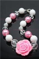 fleur acrylique rose achat en gros de-En gros Nouveau gros Fleur rose chunky bubble gum petit collier de fille