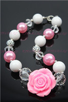 Wholesale New Resin Bubble Necklace - Wholesale New wholesale Pink Flower chunky bubble gum little girl's necklace acrylic&beads CB023