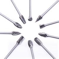 forets en verre de diamant achat en gros de-10 pcs Dremel Carbure Fraises Foret Set Rotary Burr Micro Forets pour Métal Bois Sculpture Outil Verre Diamant