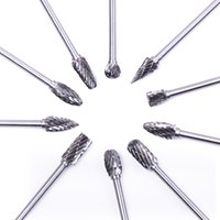 """Wholesale Carbide Parts - 10pcs 1 8"""" Shank Tungsten Steel Solid Carbide Rotary Files Diamond Burrs Set Fits Rotary Tool for Woodworking Drilling Carving Engra"""