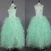 2016 Verde menta Prom Dresses Sheer Neck Beaded Crystal Corpetto Keyhole Back Ruffles Ball Gown Turquoise Prom Gowns Real Photo Abiti