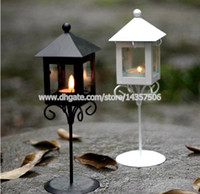 Wholesale Holder Lamps - Old European Iron Glass Art Street Light Lantern Black White London Kiosk Shape Hurricane lamp Romantic Valentine Candle Holder