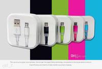 şekerleme tarihleri toptan satış-Şeker renk Mikro Usb Kablosu Coloful Düz Şehriye Tarih Sync Samsung HTC Sony Akıllı telefon Yanıp Sönen Şarj Kablosu Ile kristal perakende kutusu